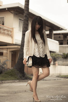 lace romwe top - quilted Romwecom bag - knit Jamy cardigan