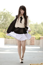 eggshell leather Forever21 blazer - black dualtone Bubbles skirt