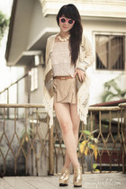 white rose romwe necklace - camel Nobrand shorts