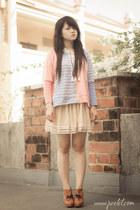red stripes romwe top - eggshell tulle Romwecom skirt