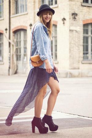 lita Jeffrey Campbell heels - H&M hat - Urban Outfitters shirt - vintage bag