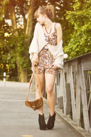 litas Jeffrey Campbell heels - vintage bag - Topshop cardigan - Zara romper