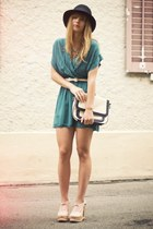 benched Jeffrey Campbell wedges - Love dress - H&M hat - Urban Outfitters purse