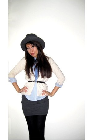 Brooks Brothers hat - Ralph Lauren shirt - vintage scarf - J Crew cardigan