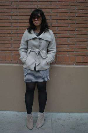 gray H&M coat - black tights - beige shoes - H&M dress - silver H&M sweater - bl