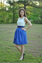 off white banana republic top - black Ivanka Trump heels - blue handmade skirt