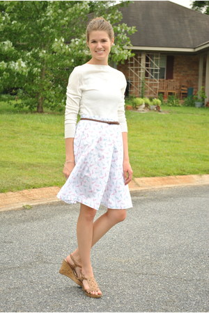 white made by me skirt - ivory New York & Co sweater - brown Forever 21 belt