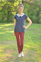 coral white plum blouse - brick red Macys jeans - off white Payless loafers