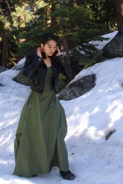 black leather BB Dakota jacket - black snow boots harsh shoes - green dress