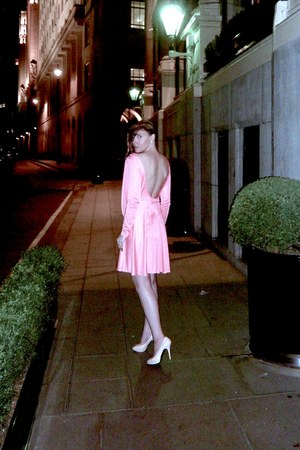 nude patent leather Shoes pumps - salmon backless draped brandless dress