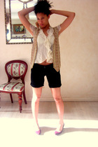thrift vest - thrift shirt - The Limited shorts - H&M shoes