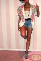 thrift jacket - H&M t-shirt - thrift belt - Mamas  closet shorts - adidas shoes