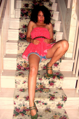 Flamenco skirt dress - thrift belt - moms shorts - payless shoes