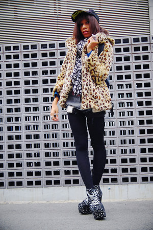 leopard print wc coat - lita Jeffrey Campbell boots - butbut cap spinns hat