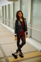 romwe jacket - romwe leggings - GLAD NEWS shirt - vintage sunglasses