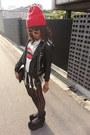 Red-studded-supermarket-hat-black-diy-studs-romwe-jacket