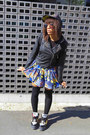 Blue-batman-print-spinns-skirt-black-street-shop-hat-black-romwe-jacket