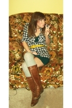 gray knee high socks Target socks - brown brown boots vintage boots