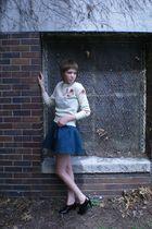 beige vintage sweater - blue Forever 21 dress