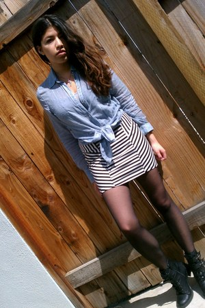 black boots - blue Forever21 shirt - black tights - black skirt