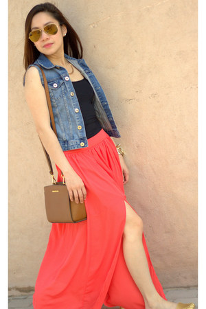 salmon long skirt iconic skirt - burnt orange Michael Kors bag