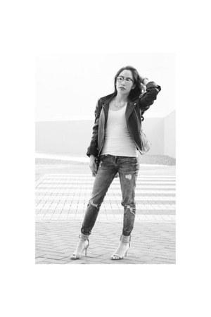 black biker Zara jacket - silver mirrored rayban sunglasses - white Zara top