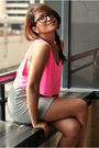 Pink-american-apparel-top-gray-random-brand-dress-forever-21-shoes