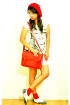red joyce leslie dress - red Urban Outfitters bag - white Urban Outfitters shoes