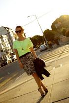 Forever 21 skirt - Zara top - Zara heels