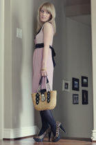 pink kensie dress - black merona tights - beige Michael Kors bag - brown sam ede