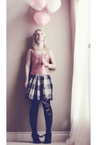 pink top - gray Obakki skirt - black Colin Stuart shoes - gold Urban Outfitters