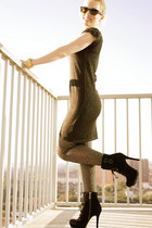 black thrifted dress - black sam edelman boots - Target tights - gold Michael Ko