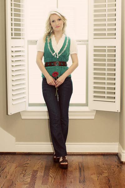 blue Habitual jeans - white New York & Company shirt - green Target vest