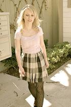 gray Obakki skirt - pink xhilaration sweater - black merona tights - black Targe