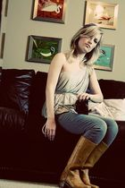 yellow Frye boots - silver Obakki top - blue American Eagle jeans - white Vintag