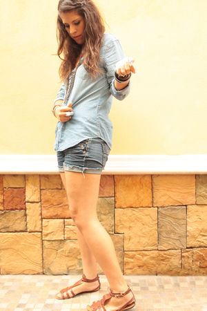 blue Pull and Bear shirt - blue DIY shorts - brown shoes - gold c&a necklace - s
