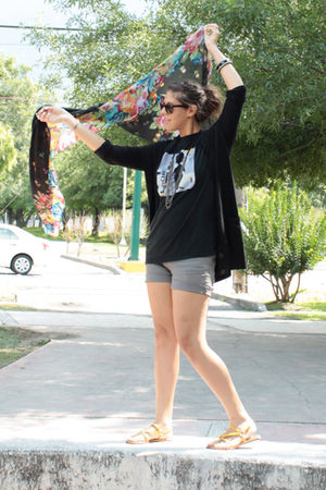 black Sfera cardigan - black Zara scarf - gold Cynthia Vincent for Target shoes