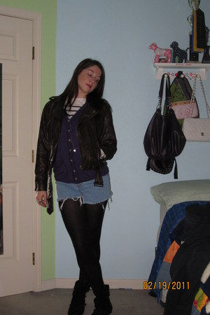 black ankle boots - brown leather jacket - classic stripe sweater - black tights