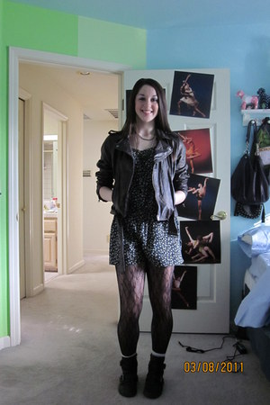 black ankle boots - brown leather jacket - mesh floral tights - floral print rom