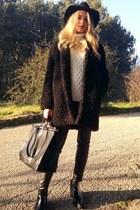 Zara boots - H&M coat - Stradivarius sweater - Zara bag - leather H&M pants