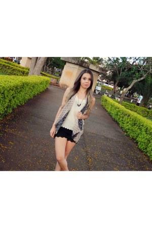 beige chiffon shirt - eggshell chiffon scarf - black lace shorts