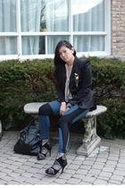 black Rinascimento blazer - beige bizz shirt - blue Helmut Lang leggings - black