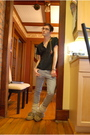 Gray-h-m-pants-gold-aldo-accessories-brown-softmocs-shoes