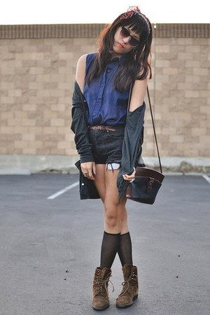 brown smooth Chanel boots - dark gray Thrift Store shorts - dark gray knee high
