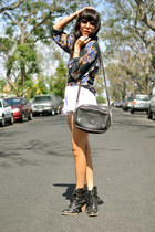black Deena & Ozzy boots - black D&B purse - white high waisted vintage shorts -
