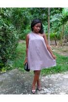 asymetrical dress - black leather purse - silver peeptoes heels