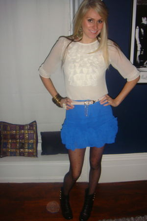beige Primark blouse - blue asos skirt - black Primark boots