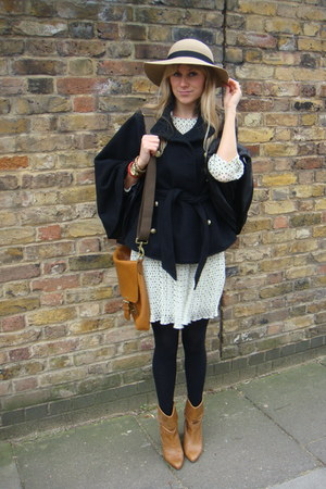 tan boots - white H&M dress - beige Dorothy Perkins hat - tan Mulberry bag - bla