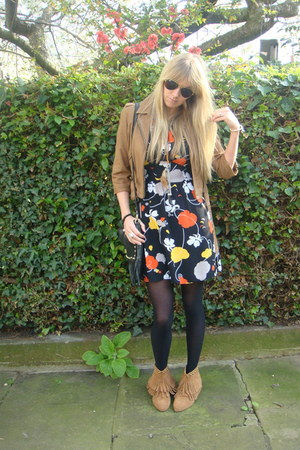 tan Office boots - black Primark dress - tan leather new look jacket