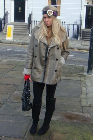 Topshop coat - Primark boots - balenciaga bag - gift gloves - Accessorize access